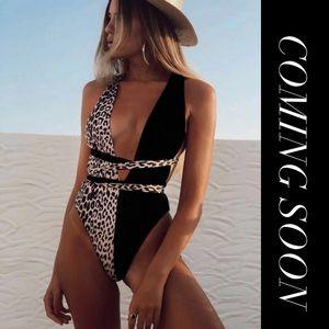 Contrast Leopard Lace Up One Piece Swimwear